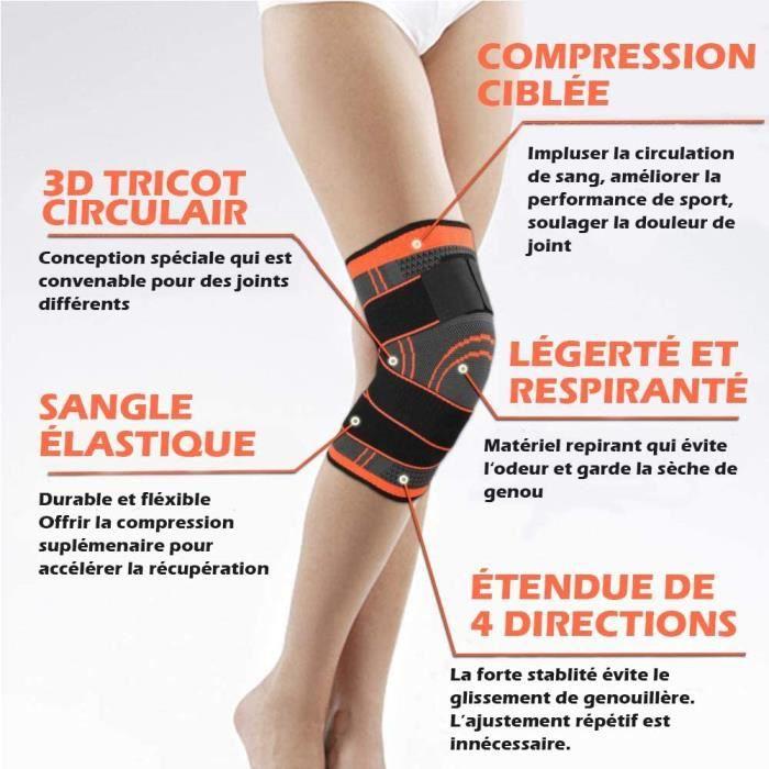 2pcs Genouillère rotulienne en nylon, Genouillère noir à scratch - Genouillère Nouvelle version, Maintien des jambes et des pieds, M