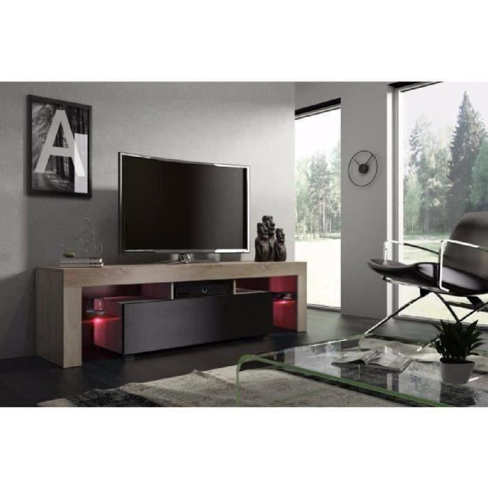 Meuble tv 160 cm chêne MDF et noir mat avec led RGB