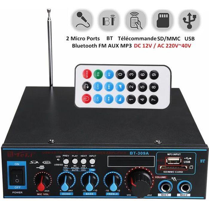 Bluetooth Amplificateur Hi-Fi Stéréo 12V/220V FM USB SD MP3 Audio Lecteur - Ampli Maison Voiture Auto 400W+400W