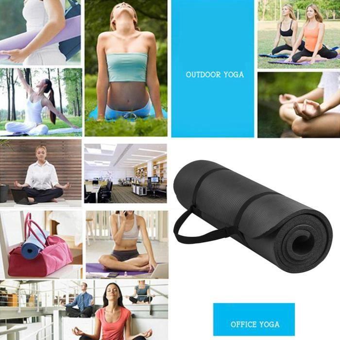 tapis de yoga insipide multifonctionnel tapis de yoga épais sport en caoutchouc Noir