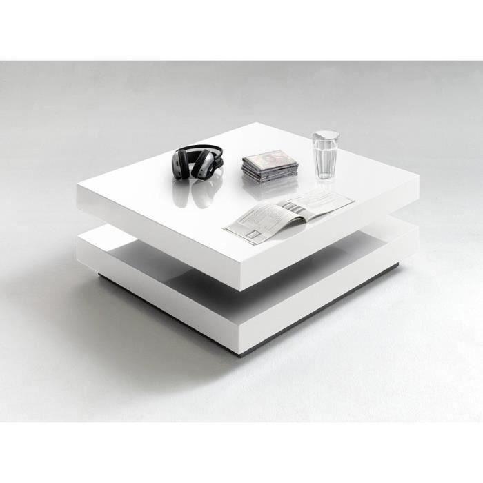 Table basse pivotant coloris Blanc laque brillant - L75 x H30 x P75 cm