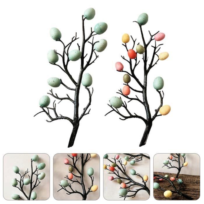 2 pièces De Pâques Décoration D'œufs Oeuf Branche D'arbre Ornement Arbre pour Cadeau rouleau de massage fitness - musculation