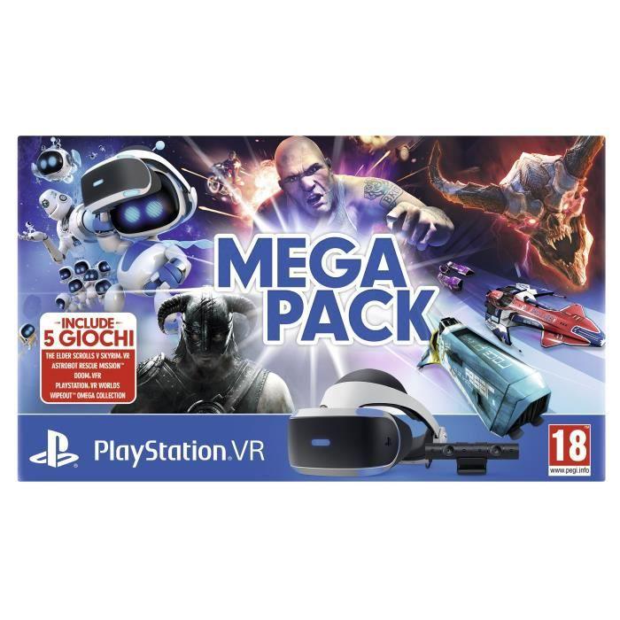 Sony PS VR Mega Pack, Casque de visualisation dédié, 18 année(s), Noir, Blanc, 100°, OLED, 1920 x 1080 pixels