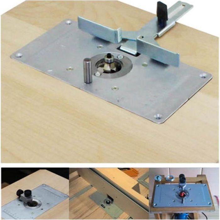Plaque en aluminium d'insertion de table de routeur avec 4 vis d'anneaux pour des bancs de travail du bois