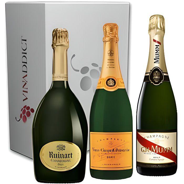 Vinaddict - Coffret Champagne Prestige6-3 Bouteilles 75Cl - R de Ruinart, Veuve Clicquot, Mumm Cordon Rouge.