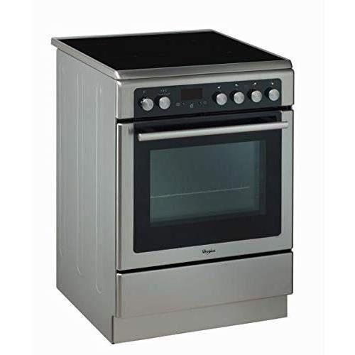 WHIRLPOOL- AXMT6534/IX - Cuisinière Vitrocéramique - 4 foyers - 6400W -Four Chaleur Pulsée Pyrolyse - 57L - A - 60x60cm -Inox