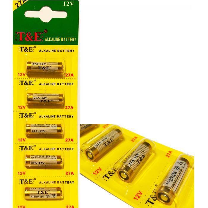 Lot De 5 Pile Alcaline 27a 12v Télécommande Alarme