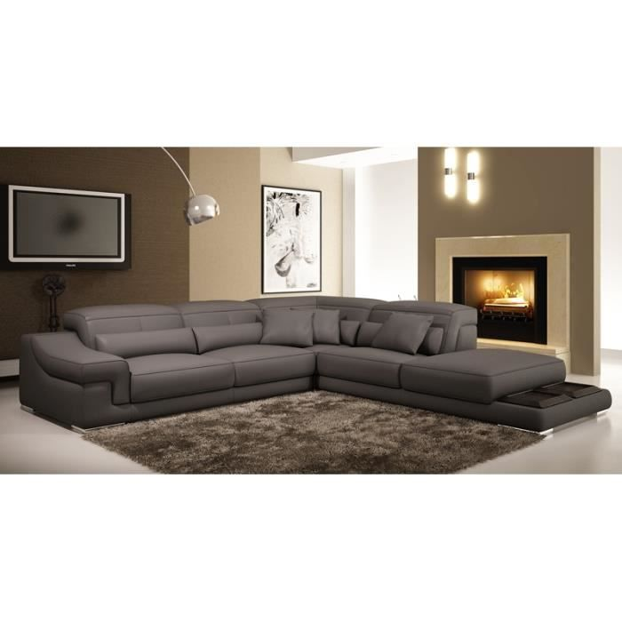 canap d 39 angle en cuir gris grissom achat vente canap sofa divan cdiscount. Black Bedroom Furniture Sets. Home Design Ideas