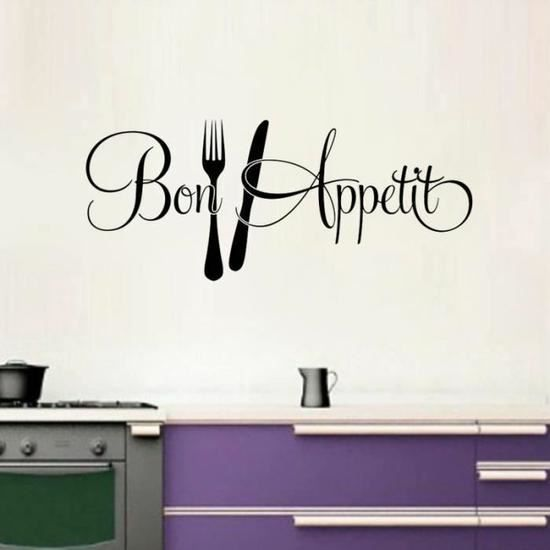 bon appetit cuisine stickers muraux d coration de la maison achat vente stickers cdiscount. Black Bedroom Furniture Sets. Home Design Ideas