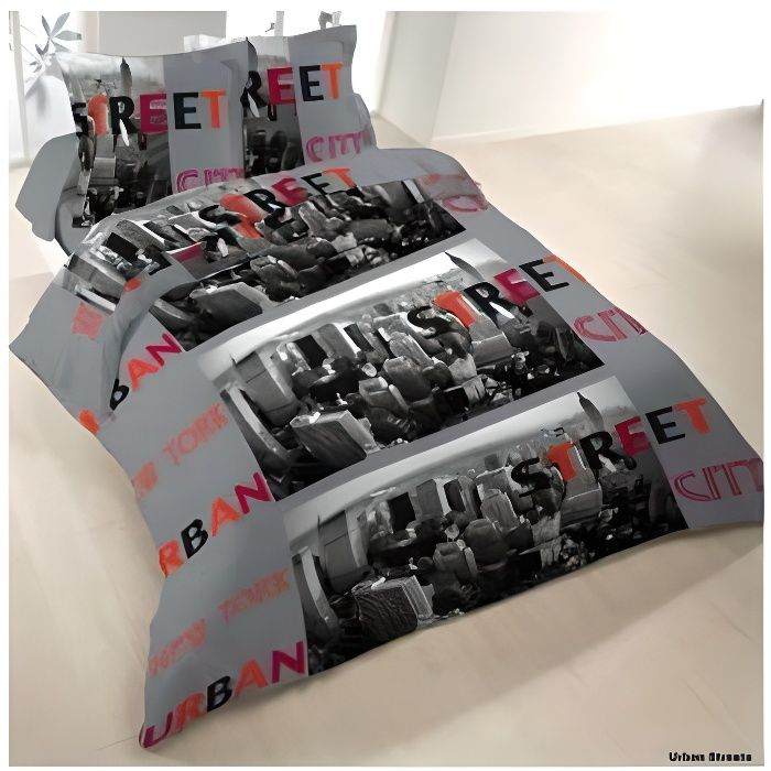 housse de couette new york urban street 240x220 2 taies coton 42 fils housse de couette avec. Black Bedroom Furniture Sets. Home Design Ideas