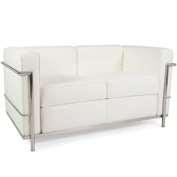 lc2 le corbusier 2 places blanc achat vente canap sofa divan cdiscount. Black Bedroom Furniture Sets. Home Design Ideas