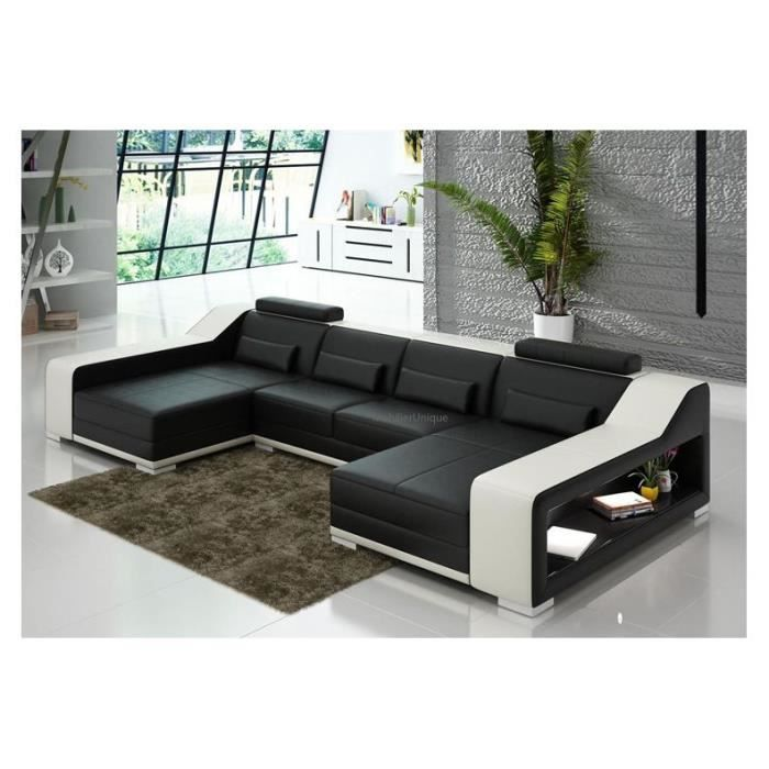 canap d 39 angle cuir noir blanc design achat vente salon complet cuir. Black Bedroom Furniture Sets. Home Design Ideas