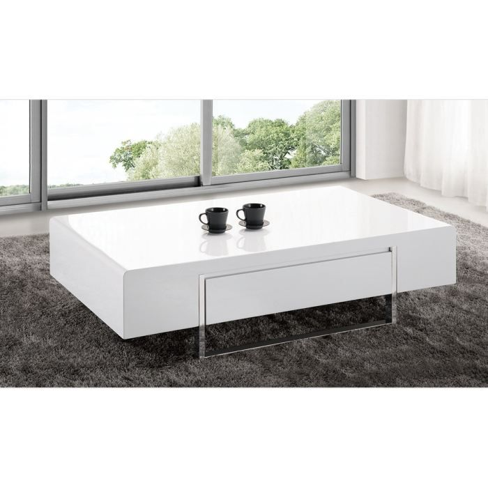 Table basse design cassiop e laque achat vente table basse - Table basse blanche moderne ...