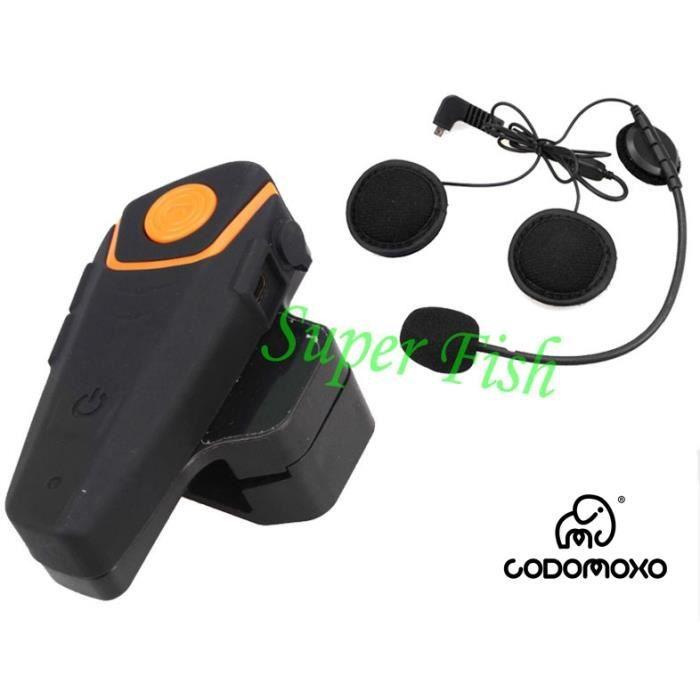 Casques de Moto Appel Main Libre 2Pcs Casques de Moto BT /Écouteur Haut-Parleur Sans Fil de Moto avec C/âble dAlimentation