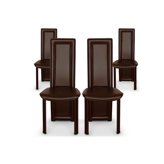 lot de 4 chaises salle a manger marron fonc asya achat. Black Bedroom Furniture Sets. Home Design Ideas