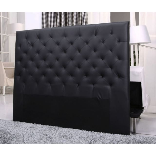 tete de lit capitonnee king 140 160cm pu noir achat. Black Bedroom Furniture Sets. Home Design Ideas
