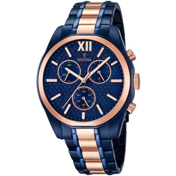 montre homme festina f16857 1 acier bleu et plaqu or rose achat vente montre montre homme. Black Bedroom Furniture Sets. Home Design Ideas