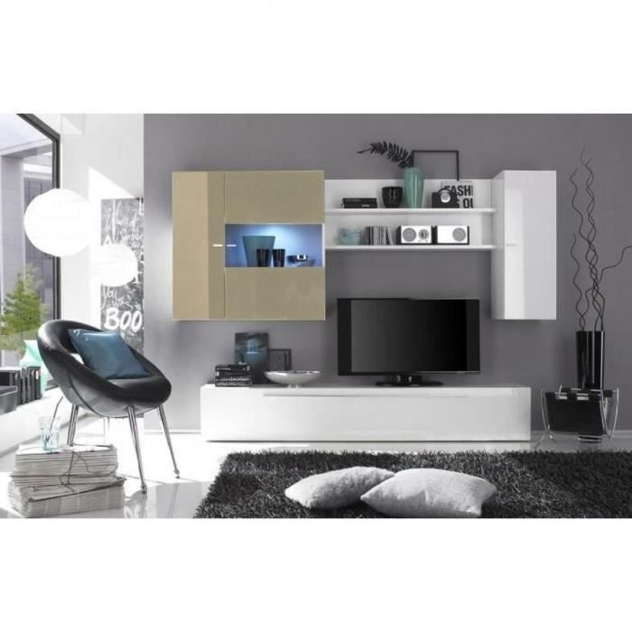 composition murale tv design primera blanc et s achat vente meuble tv composition murale. Black Bedroom Furniture Sets. Home Design Ideas