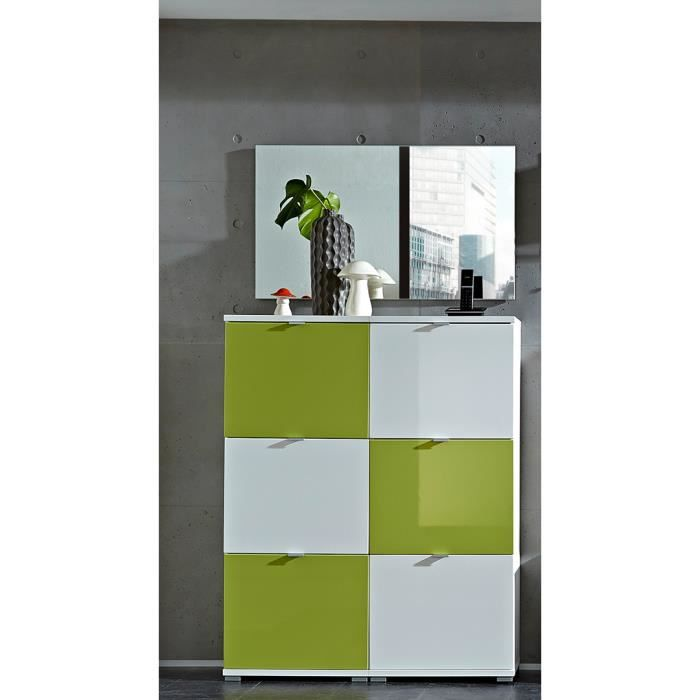 meuble chaussures design 6 abattants blanc vert dolaro. Black Bedroom Furniture Sets. Home Design Ideas