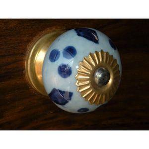 POIGNÉE - BOUTON MEUBLE Boutons en porcelaine bleu clair/outremer