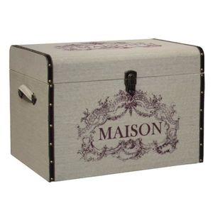 COFFRE - MALLE Grande Malle Coffre de Rangement Bois Toile Jute 6