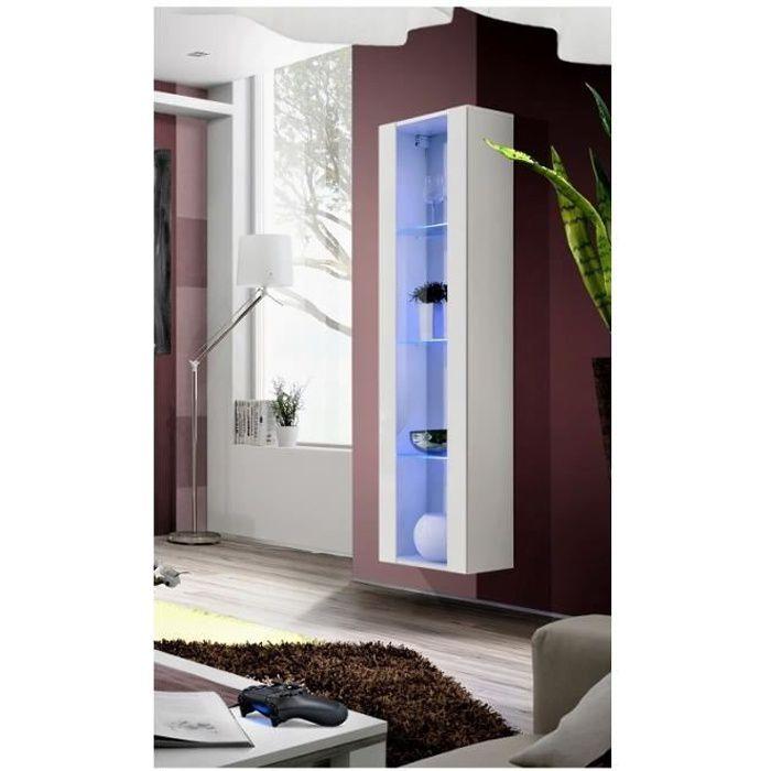 Séjours - Vitrine colonne - FLY 41 - LED - L 40 cm x P 29 cm x H 170 cm - Blanc
