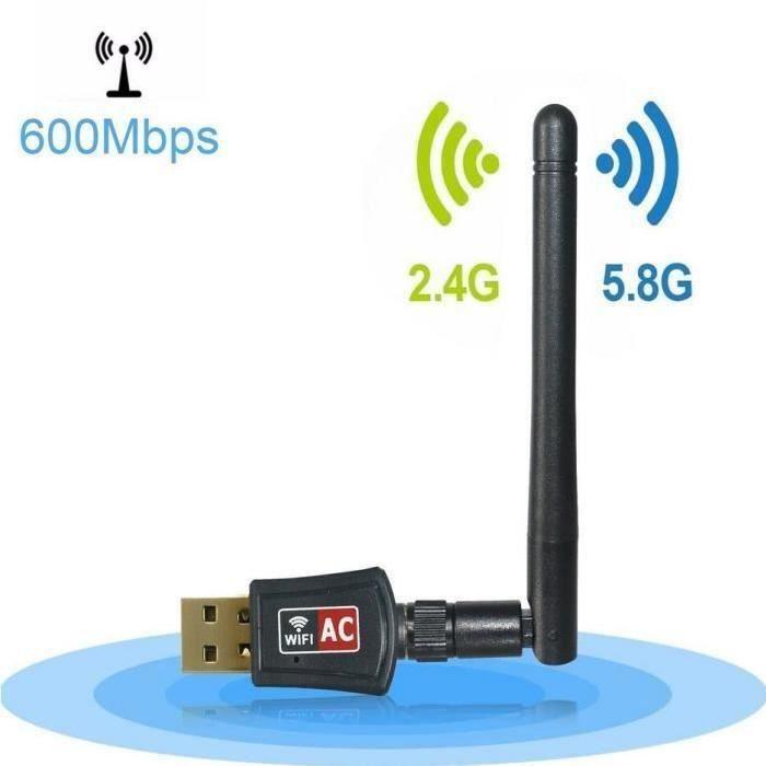 Clé Usb Wifi Dual Band 5Ghz 433Mbps + 2.4Ghz 150Mbps Récepteur Wifi Adaptateur avec 3Dbi Antenne Wifi Usb Compatible Ieee 802.11ac