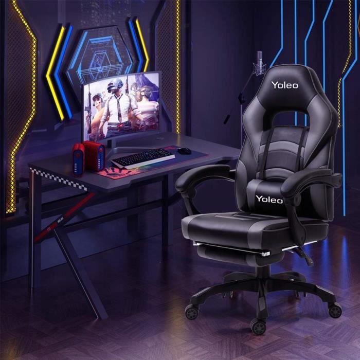 YOLEO Chaise de bureau ergonomique 114-124 cm chaise gaming bureau gamer avec Repose-pieds et Support lombaire Inclinable 135°- Gris