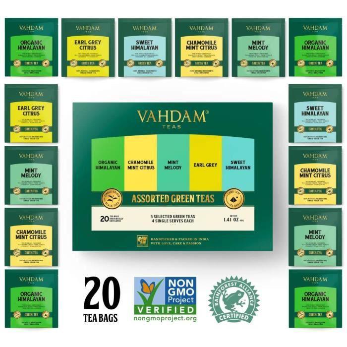 VAHDAM, Échantillonneur de Thés Verts, 5 Thés - Lot de Thés Variés - Sachets de Thés Verts Assortis - 20 Sachets de Thés Verts Bio,