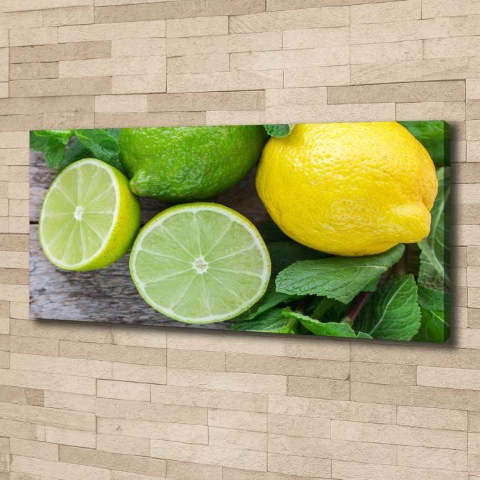 Tulup 125x50 cm art mural - Image sur toile:- Nourriture boissons - Citron Vert Citron - Vert