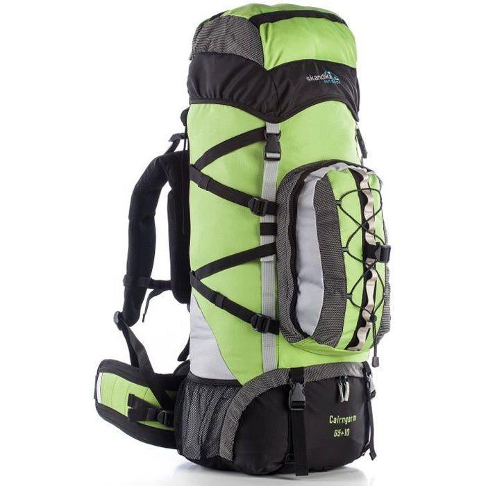 skandika Cairngorm 65+10 Sac à dos trekking randonnée marche - Noir-Vert