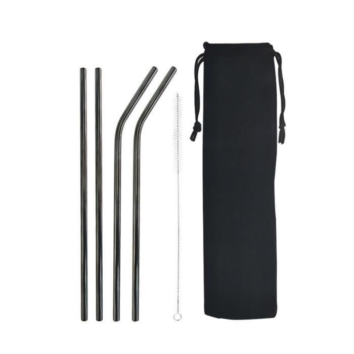 Black 4pcs Black -Paille colorée réutilisable de haute qualité, en acier inoxydable 304 avec brosse de nettoyage pour tasses 20-30oz