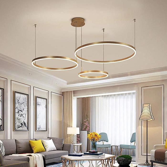 Moderne 3 Anneaux Anneau Pendentif Lumière 90W LED Dimmable Salon Lustre Avec Télécommande Suspension Chic Chambre Salle À Mange7