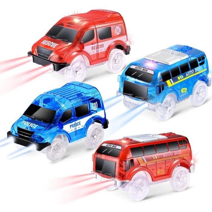 Pack de 4 Voitures à chenilles avec 5 Lampes LED, Compatible avec Les véhicules de Lecture Magic Tracks(4 Voiture)