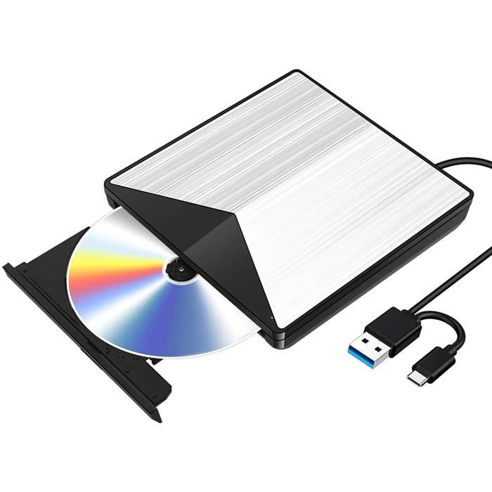Externe Graveur CD DVD Blu Ray 3D, USB 3.0 Portable Ultra Slim de Lecteur DVD CD-RW pour iMac Mac OS, Linux, PC Windows XP/Vista / 7