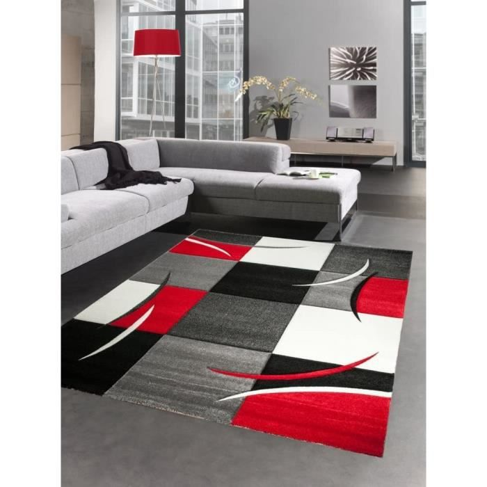 TAPIS - DESSOUS DE TAPIS TIA D&eacutesigner Tapis Karo Rouge Gris Blanc Noir (160_x_230_cm)1145