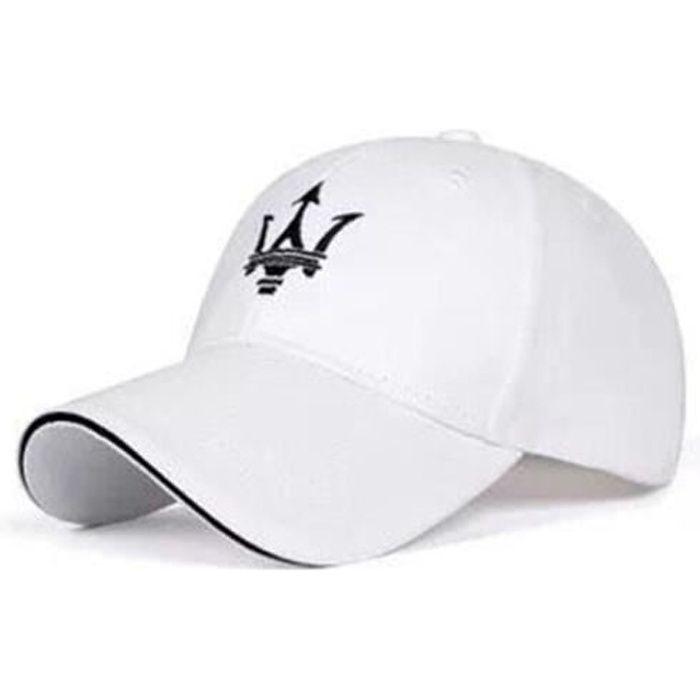 Coque clé,Nouveau noir blanc pour Maserati Quattroporte Ghibli marque Logo casquette de Baseball brodé visière en - Type WHITE