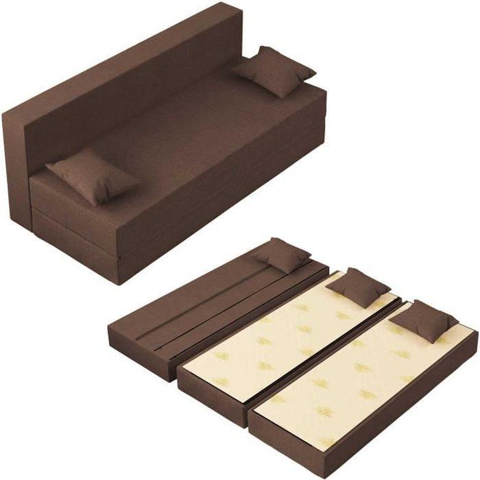 Canapé Lit TreTris Convertible Modulable Réversible 3 places - Tissu dehoussable et lavable Couleur Sépia