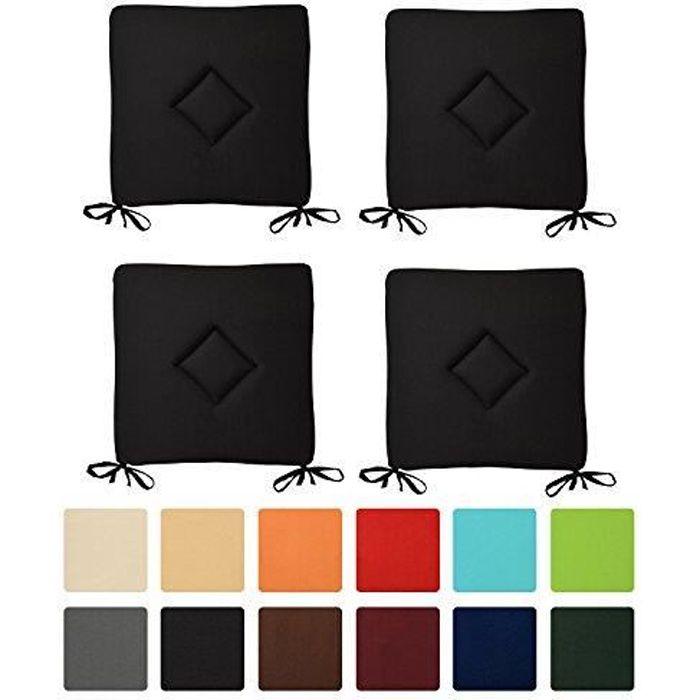 Beautissu Lot de 4 Galettes de Chaise Kim 40x40x3cm Noir - Confortable et Coloré - Idéal pour Intérieur Extérieur - Décoratif