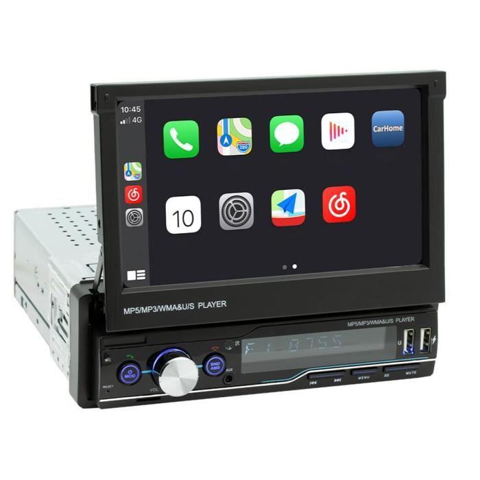 T100C Autoradio stéréo Bluetooth, CarPlay HD, écran tactile rétractable, lecteur MP5, récepteur FM, caméra de