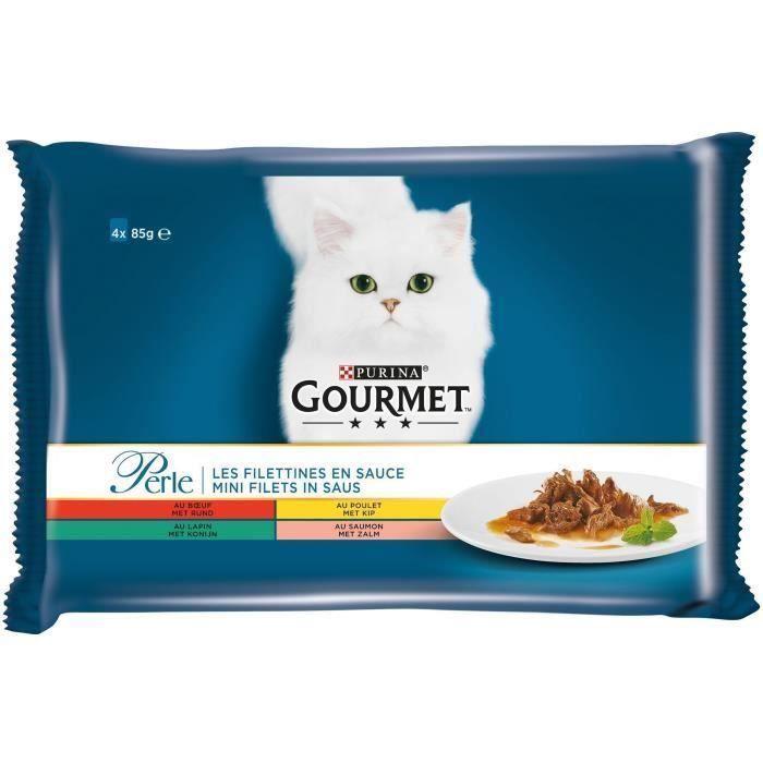 GOURMET Perle Les Filettines en sauce - Sachets fraîcheur - Pour chat adulte - 4 x 85 g (Lot de 3)