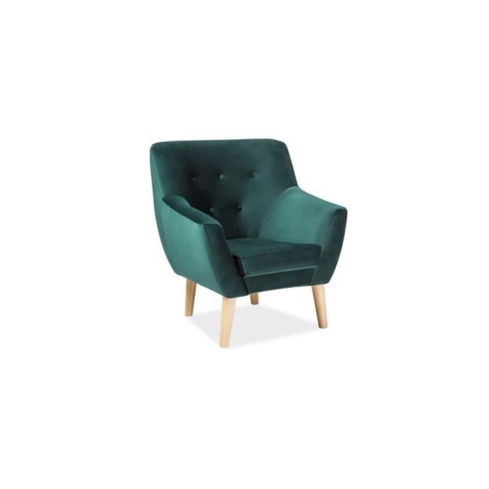 NORDIN - Fauteuil de salon style scandinave - Hauteur 90 cm - Tissu velours - Pieds en bois - Vert