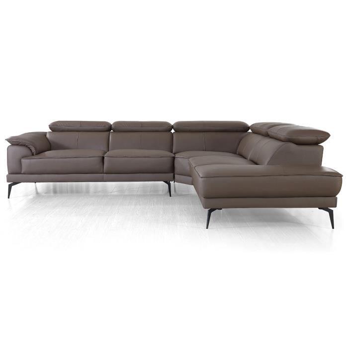 Canapé d'angle droit en cuir ELEA - Marron - Droit - Marron