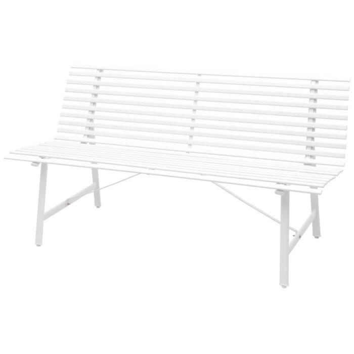 Haute qualité Luxueux Magnifique Economique Banc de jardin Acier 150 x 62 x 80 cm Blanc