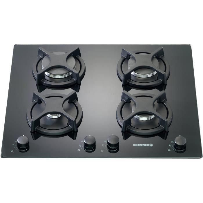 ROSIERES RTV640FPN - Table de cuisson gaz - 4 foyers - 8750W - L56 x P48 cm - Revêtement verre - Noir