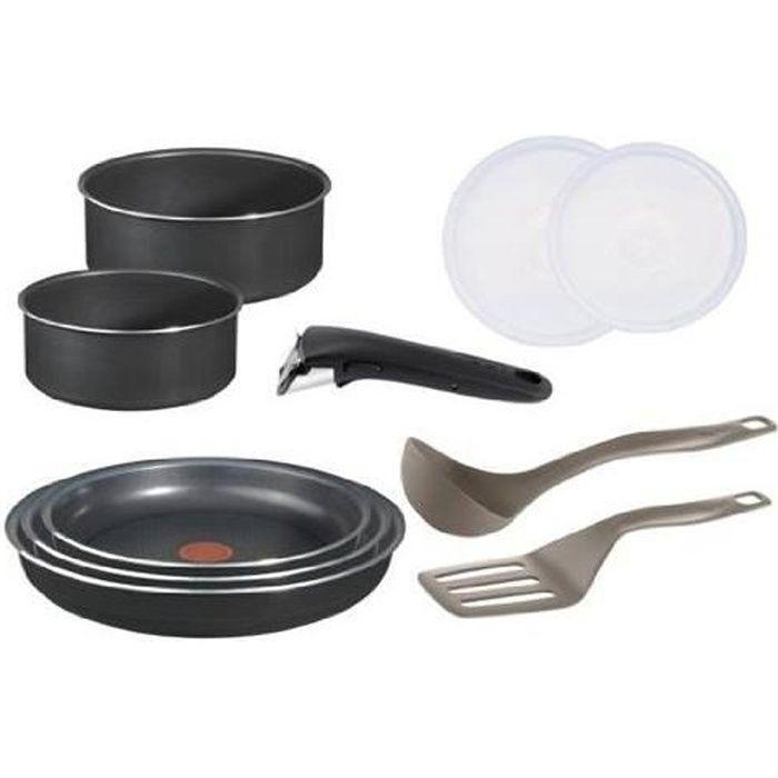 tefal ingenio 5 Batterie de cuisine Set de 10 Pièces Antiadhésif Aluminium Noir : 2 casseroles (16/18 cm) + 3 poêles (20/22/26 cm) +