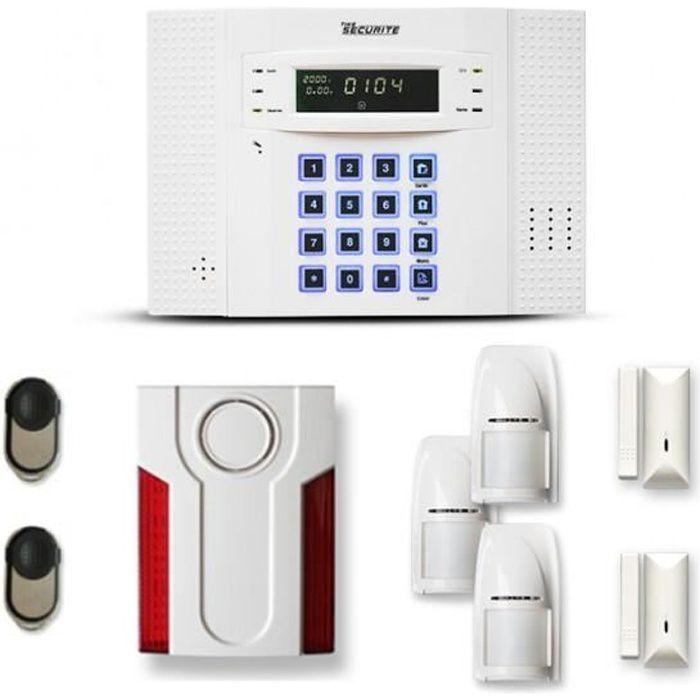 Alarme maison sans fil DNB 2 à 3 pièces mouvement + intrusion + sirène extérieure - Compatible Box / GSM