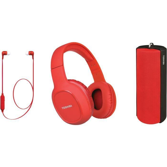TOSHIBA - Pack Audio Sans fil 3 en 1 - HSP-3P19S - Rouge - Casque Bluetooth - Enceinte Bluetooth - Ecouteur Bluetooth