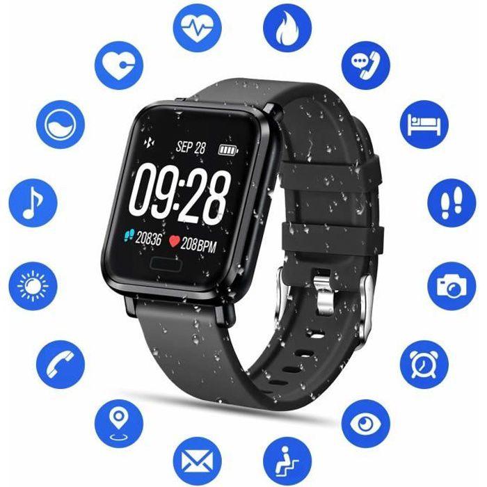 Montre Connectée Femmes Homme Enfant IP68 Etanche Bracelet Connecté Écran Coloré Smartwatch avec Cardio Podometre Sommeil Réveil