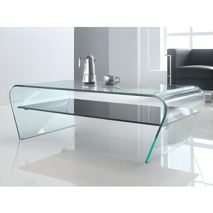 Table basse KELLY - Verre trempé - Tablette noire laquée